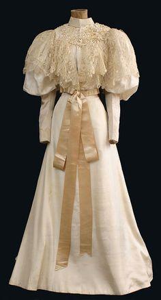 Wedding dress, circa 1895. From Vintage Textile.