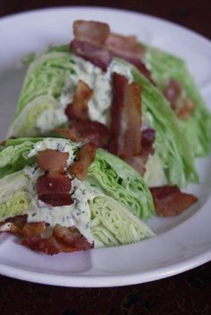 Wedge Salad with Bacon Bits and Creamy Dill Dressing #healthy #salad