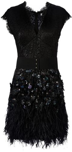 MATTHEW WILLIAMSON ENGLAND Feather and Crystal-embellished Dress