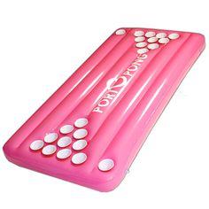 pong tabl, pool parties, beer pong, beerpong, pool beer, pink, lake, summer fun, float pool