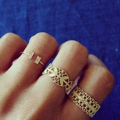 little gold rings., lace, fashion, style, accessori, beauti, grace lee designs, jewelri, thing