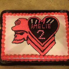 Metal Mulisha Maidens Birthday cake with heat chevron skull logo!