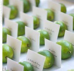 wedding tables, wedding escort cards, citrus wedding, place card holders, place cards, wedding table numbers, wedding name cards, limes, lemon