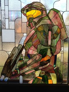 Master Chief stained glass by Martian Glass Works