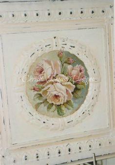 Original rose painting on tin C.Repasy