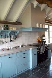 Tegels keukens en badkamers on pinterest kid kitchen loft kitchen and vans - Keuken grijs en blauw ...