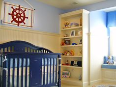 """Reclaim square footage for baby's playtime with vertical storage. Designer Sherri Blum says, """"Built-in wall units are especially helpful in small spaces; a single wall with built-ins can replace toy boxes, bookcases, desks and trunks to create a room that is more open and clutter free."""""""