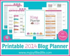 Printable 2014 Blog Planner