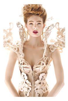 Alexander McQueen alexander mcqueen, coutur, corsets, modern victorian, dress, art, inspir, fashion photography, hair