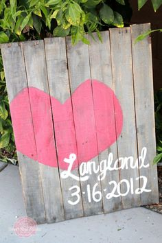 "Pallet wedding sign- Cute Idea!! It would be neat if you put ""Est.""... Then the date of Marriage. @Audi Thomley This made me think of you, do you like rustic stuff like this? wall art, tutorials, weddings, pallets, pallet signs, wedding art, pallet art, wedding signs, wedding gifts"