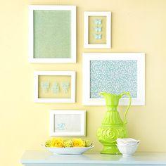 craft, art frames, color schemes, color combos, framed fabric, glass, diy wall art, scrapbook paper, picture frames