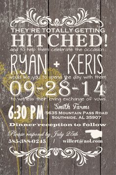 Western Wedding Invitation  #country #western #wedding #ideas … Wedding ideas for brides, grooms, parents & planners https://itunes.apple.com/us/app/the-gold-wedding-planner/id498112599?ls=1=8 … plus how to organise an entire wedding, without overspending. http://pinterest.com/groomsandbrides/boards/ ♥ The Gold Wedding Planner iPhone #App ♥ For more boards #wedding #ceremony #reception #rustic #country #bride #bridesmaids #groom #invitations #bouquets #western #tables #cake #favors #white