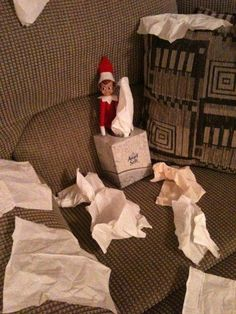 Elf on shelf making a kleenex mess