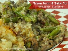 Green Bean & Tator Tot Hamburger Casserole,. If you don't have heavy cream, substitute the cream and mayo for Campbell's condensed soup i.e., cream of mushroom, cr. of beefy mushroom or celery.