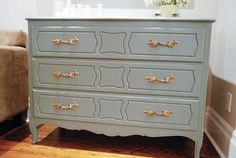 painted dresser with gold handles