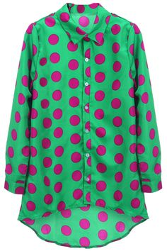 "#""Polka Dots"" Green Shirt  short and shirt #2dayslook #short and shirt #dynamicfashion  www.2dayslook.com"