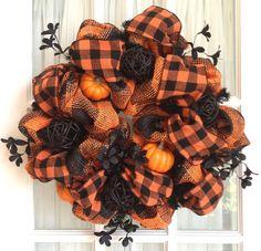 Burlap Mesh Natural HALLOWEEN Wreath Black Orange Wreath via Etsy.