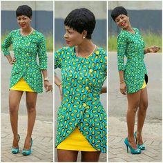 African print asymmetrical.ntoma blazer and skirt