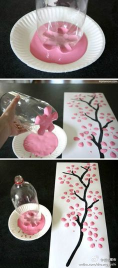 cherri, soda bottles, flower paintings, blossom trees, pop bottles, paint brushes, kid crafts, paper plates, cherry blossoms