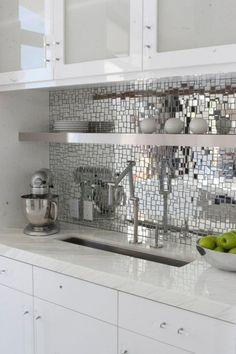 #kitchen #kohler mirror mosaic back splash in white kitchen by FoodLove