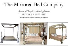 Built for a Queen! The regal REINA MIRRORED CANOPY BED by The Mirrored Bed Company. Beds built around your dreams... contact us now to help us make yours!
