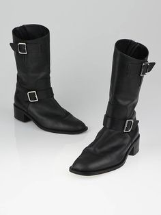 Chanel Black Leather Motorcycle Boots