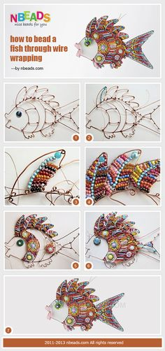 Summary: Let's learn wire wrapping techniques today. The following craft making process pictures show you how to bead fish. Try and add these cute and colorful beaded fishes to your home #decor.#diy