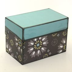 Upcycled Metal Filing or Recipe Box Gray And Blue by KotiBeth - I love the color combination.  I'm thinking these colors would be great for the bedroom...