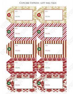 Free Printable Christmas Tags – Dressy - Cupcake Express