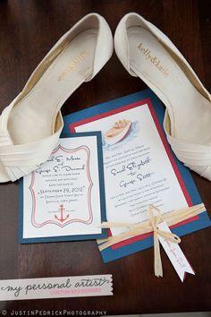 Nautical boat wedding invitations and nautical save the dates. www.mypersonalartist.com