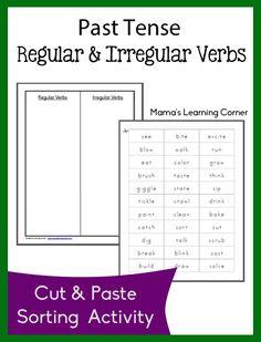 Free Past Tense Regular and Irregular Verb Sort Worksheets