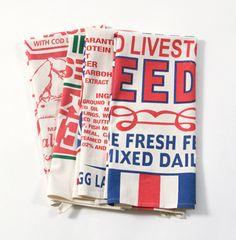 Flour Sack Towels. $24.00 from House8810 flour sack, sack towel, kitchen towels, vintage signs, hous, dish towels, feed sacks, print, hand towels