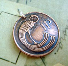 Coin Jewelry CELTIC Stylized bird copper COIN NECKLACE, 1 P, patina, Irish harp, eire, peacock. $8.95, via Etsy.