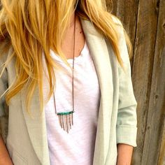 turquoise and copper fringe necklace $32