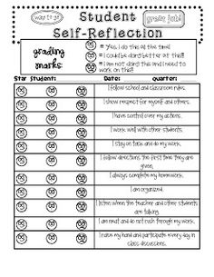 Student Self-Reflection.  This rubric would be great to use before Parent/Teacher Conferences and with report cards.