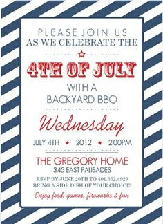 A Fourth of July party invitation.
