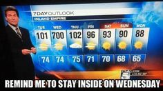 Wednesday's going to be a scorcher.
