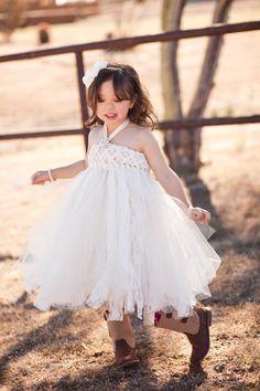 Sweet Sophistication Flower Girl Dress, Shown in Ivory, via Etsy.