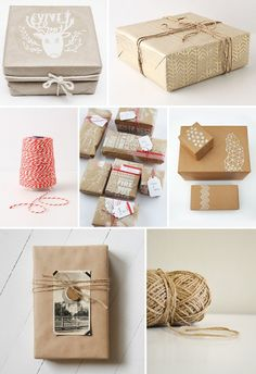 Creative wrapping with brown paper and twine/Ask for Brown paper bags at grocery stores once in a while!!
