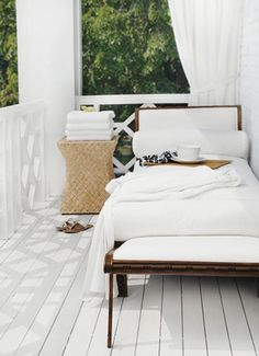 all white sleeping porch