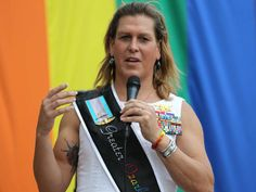 Fomer Navy SEAL and war veteran Kristin Beck speaks to the crowd during PrideFest in downtown Springfield on June 21, 2014.