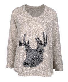 Paillette Elk Round Neckline Pullover
