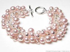 Rose Chiffon Swarovski Pearl & Crystal Charm by whimsydaisydesigns, $40.00