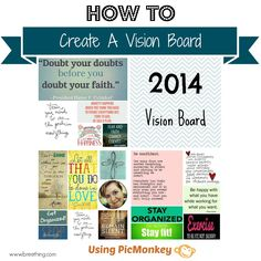How to Create a Vision Board Using PicMonkey - Instead of #NewYearsResolutions, create a Vision Board to inspire and motivate you throughout the year! breething.com
