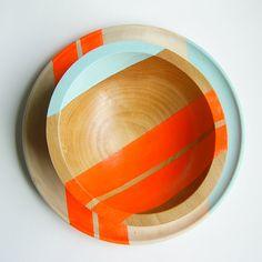 "Modern Neon Hardwood 7"" Bowl, Electric Orange. $40.00, via Etsy."