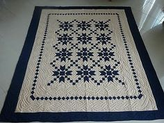"""058-AMISH QUILT. HAND QUILTED. BLUE/TAUPE. OHIO CHAIN. 104X114"""""""