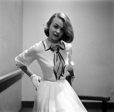 A girly, stylish 1952 Hermes dress by Gordon Parks with a  trompe l'oeil collar and (subtly nautical style) scarf.  #vintage #fashion #clothes #1950s #dress