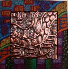 Copper Relief with Decorated Mat by jodie hurt, via Flickr