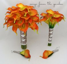 Real Touch Calla Lily Wedding Package Bridal Bouquet Maid of Honor Groom Best Man Boutonnieres Flame Orange Silver Gray Ribbon by SongsFromTheGarden, $180.00 USD