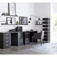 Deco de la maison home decoration on pinterest bureaus industrial style - Bureau blanc et noir ...